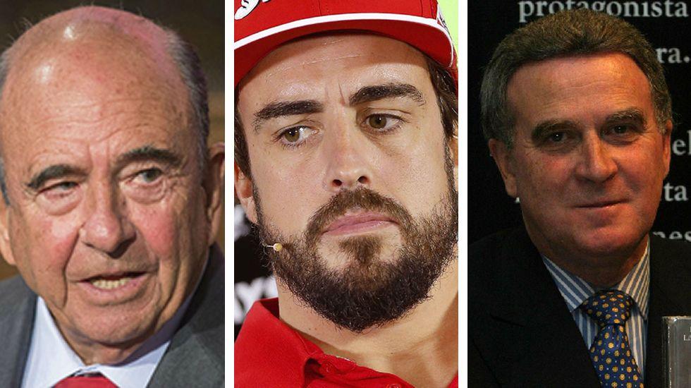 .Emilio Botín, Fernando Alonso y el coruñés Ramón López Vilas.