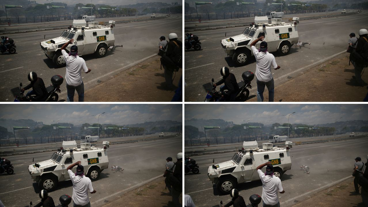 Así fue el momento en el que un tanque atropella a civiles en Venezuela.Portal del edificio del distrito madrileño de Puente Vallecas donde apareció el cadáver momificado de un hombre