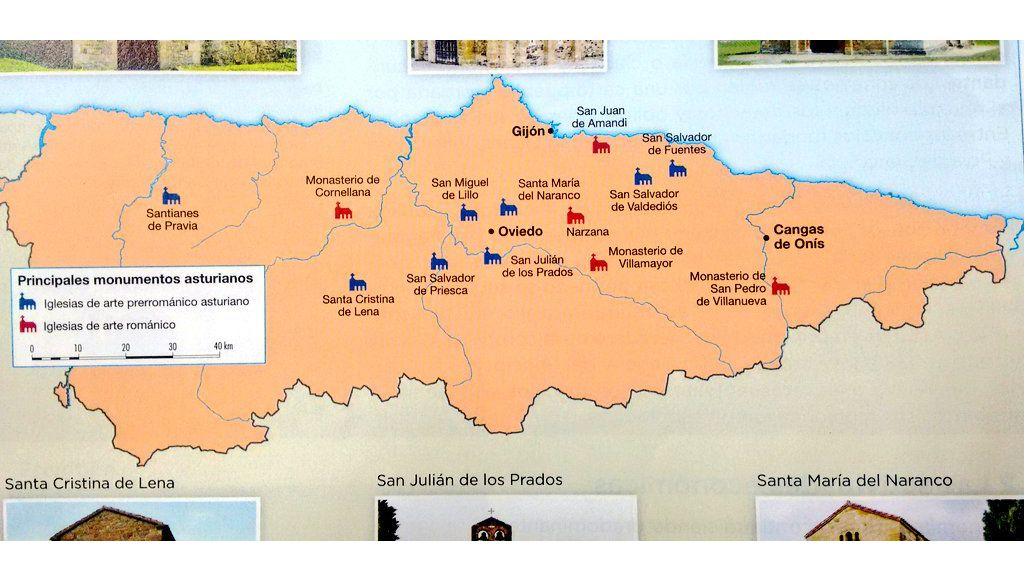 Mapa del Arte Asturiano que figura en el anexo de historia de Asturias de un libro de Geografía e Historia de 2° de la ESO