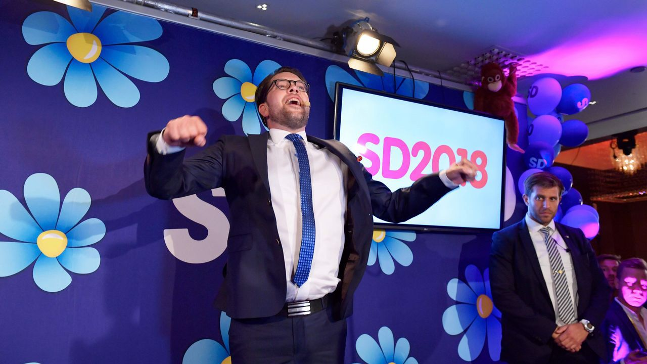 Jimmie Akesson, líder del partido ultraderechista Demócratas de Suecia, tras conocer el resultado de las elecciones