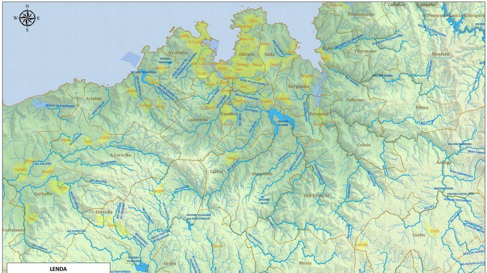 Mapa con los cauces fluviales que atraviesan la comarca coruñesa y betanceira