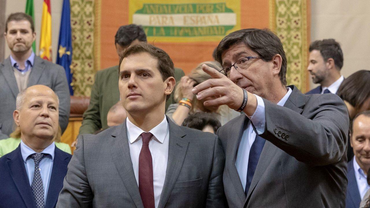 Aparcamiento.Juan Manuel Romero (PP) y Juan Marín (Ciudadanos), en una imagen de archivo