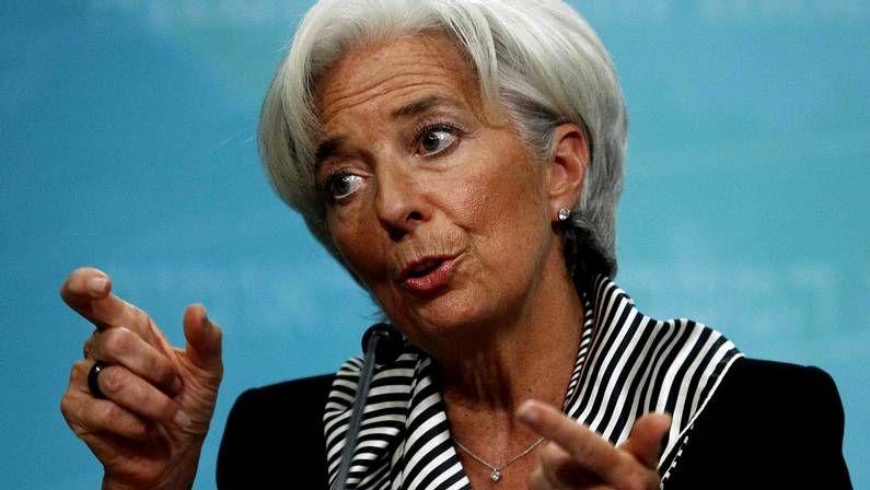 Multitudinaria manifestación en Madrid contra la política económica europea.Christine Lagarde, presidenta del FMI
