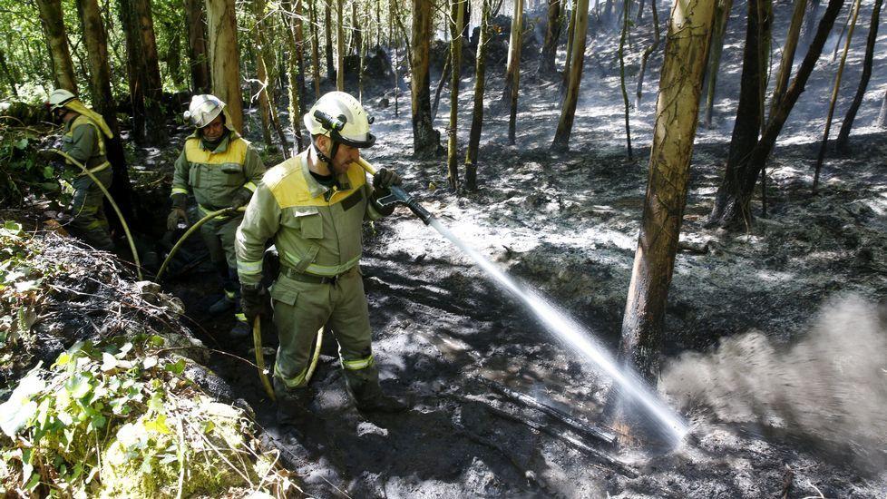 .Bomberos refrescando el incendio de Cotobade