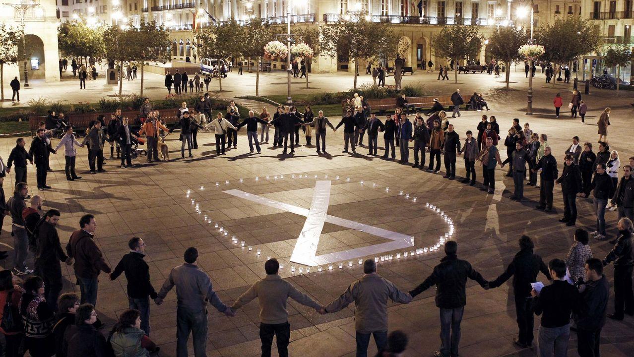 Manifestación contra la violencia machista en la plaza del Castillo de Pamplona