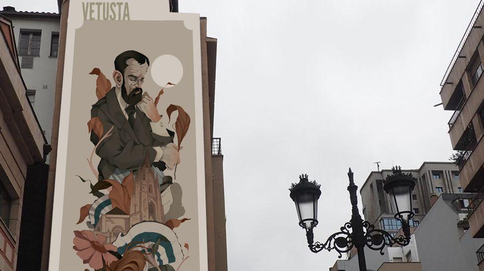 Foto del foto del boceto ganador del concurso para pintar un mural sobre «Clarín» en la calle Santa Clara, en Oviedo.Foto del foto del boceto ganador del concurso para pintar un mural sobre «Clarín» en la calle Santa Clara, en Oviedo