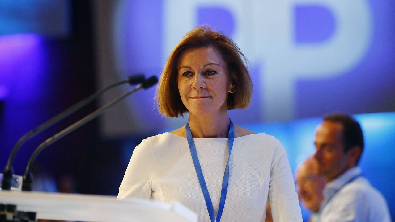 La secretaria general del Partido Popular, María Dolores de Cospedal, durante su intervención