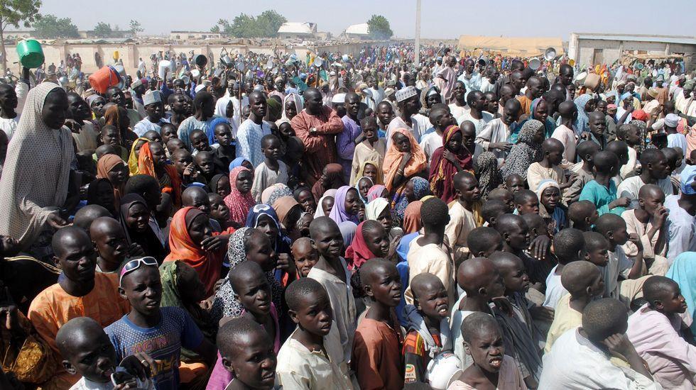 .Imagen de archivo del campo de refugiados.