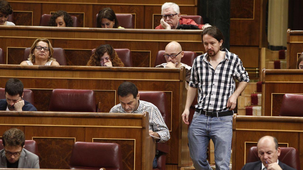 El líder de Podemos, durante la sesión de control al Gobierno celebrada el pasado 26 de septiembre
