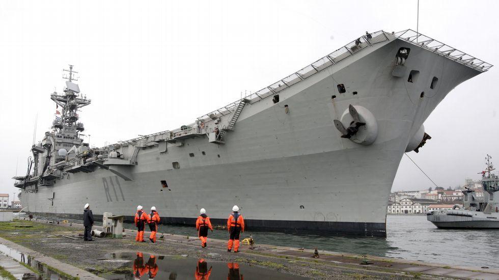 .El portaviones cuando fue amarrado en Ferrol para su desmantelamiento
