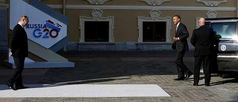 El vídeo con el que Estados Unidos quiere convencer a los legisladores.Putin se mostró distante al saludar a Barack Obama, quien llegó en su famosa limusina «La Bestia» al palacio Constantino.