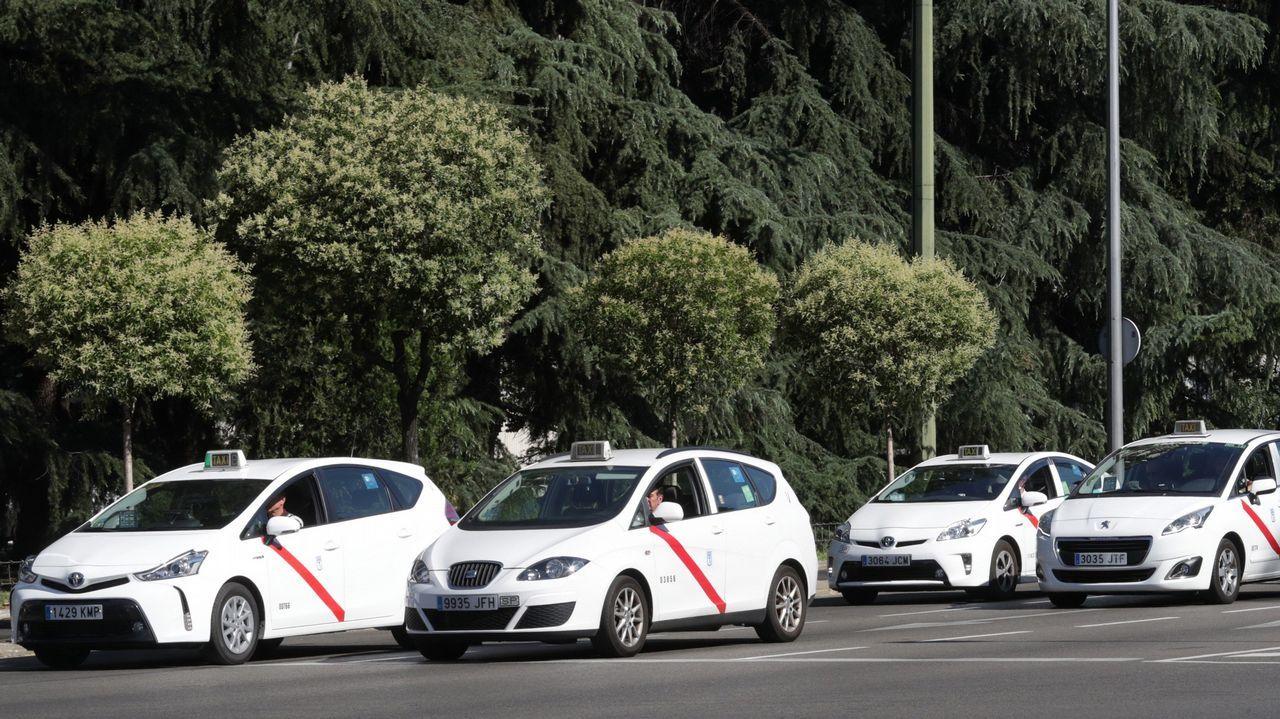 Concentración de un grupo de taxistas en Madrid.