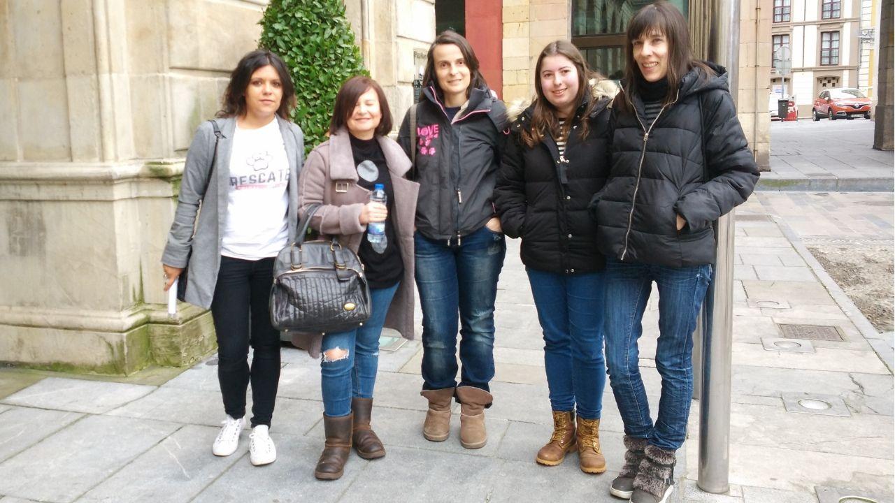 Oficinas de la Renta Social Municipal en El Coto (Gijón).Representantes de asociaciones protectoras de animales de la ciudad, ayer, antes de la rueda de prensa
