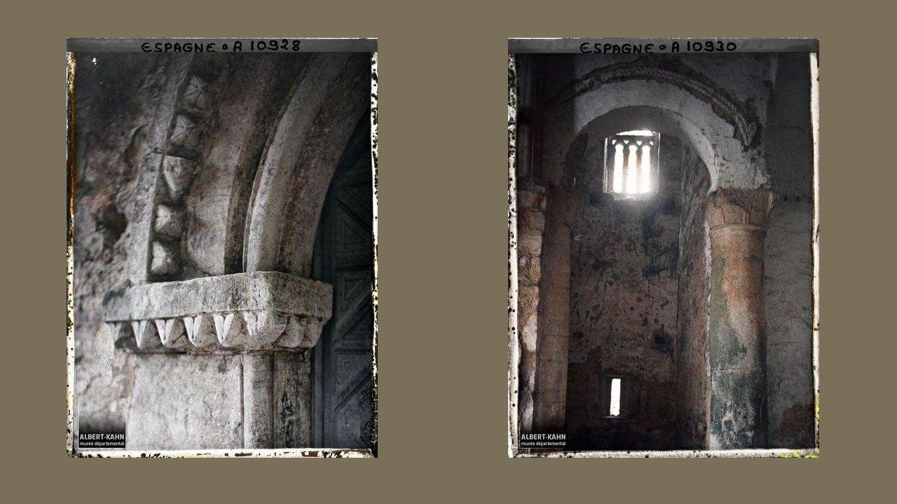 Arco de Santa María del Naranco e interior de San Miguel de Lillo