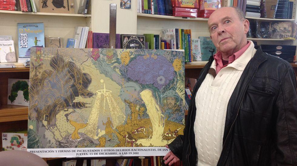 Ian Watson, junto a la ilustración de Enrique Corominas para «Incrustados y otros delirios racionalistas»