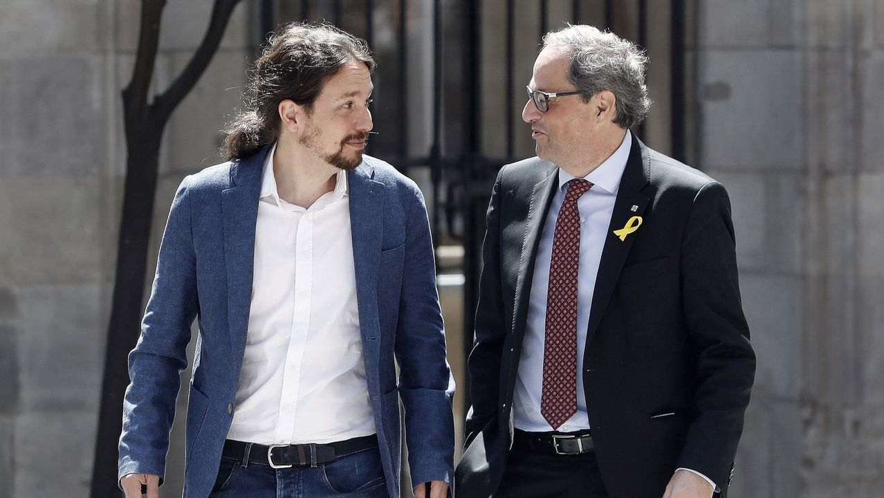 .Pablo Iglesias ayer, con Quim Torra
