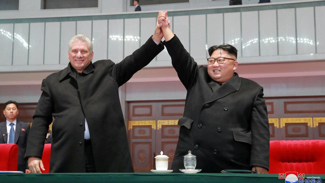 El presidente cubano, Miguel Diaz-Canel, visita al mandatario coreano Kim Jong-un