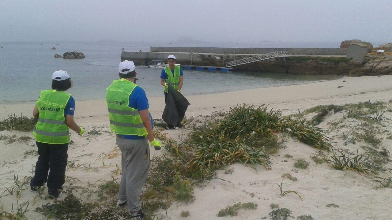Mañana de limpieza de arenales en la Costa da Morte: ¡el álbum!.Bañistas en la playa de Samil, en Vigo