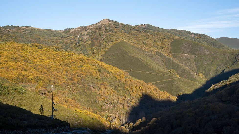 Una vista del souto de Hórreos y del monte Cogoluda