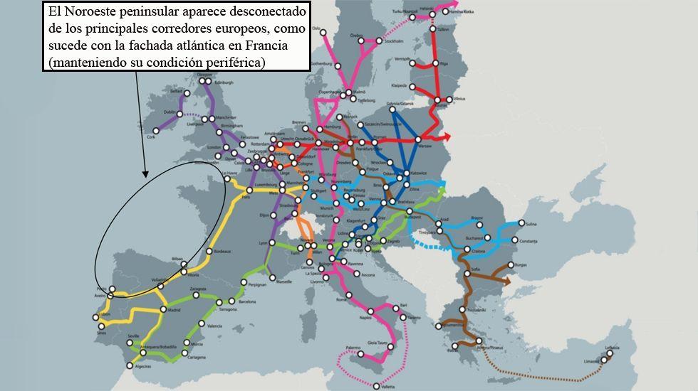 El Noroeste peninsular se encuentra desconectado de los principales corredores ferroviarios europeos