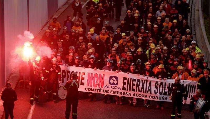 Manifestación de trabajadores de Alcoa