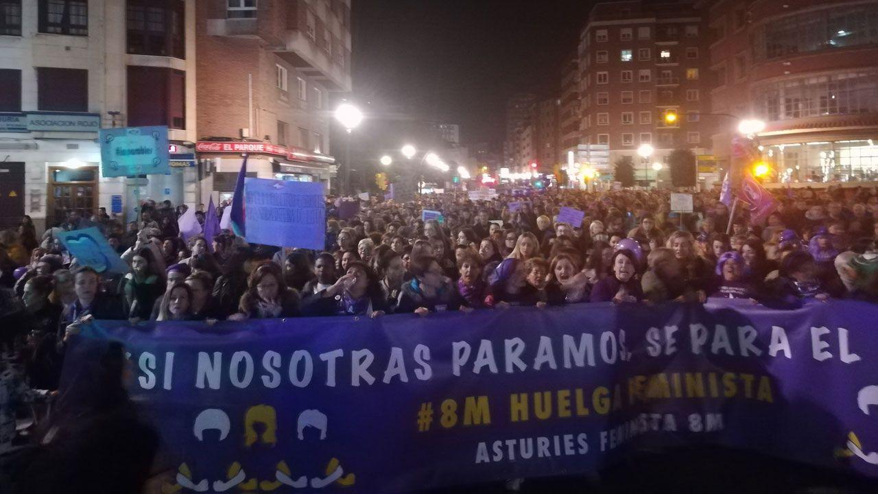 Todas las imagenes de la manifestación del 8-M en Gijón.Colas para recoger el cubo marrón de reciclaje