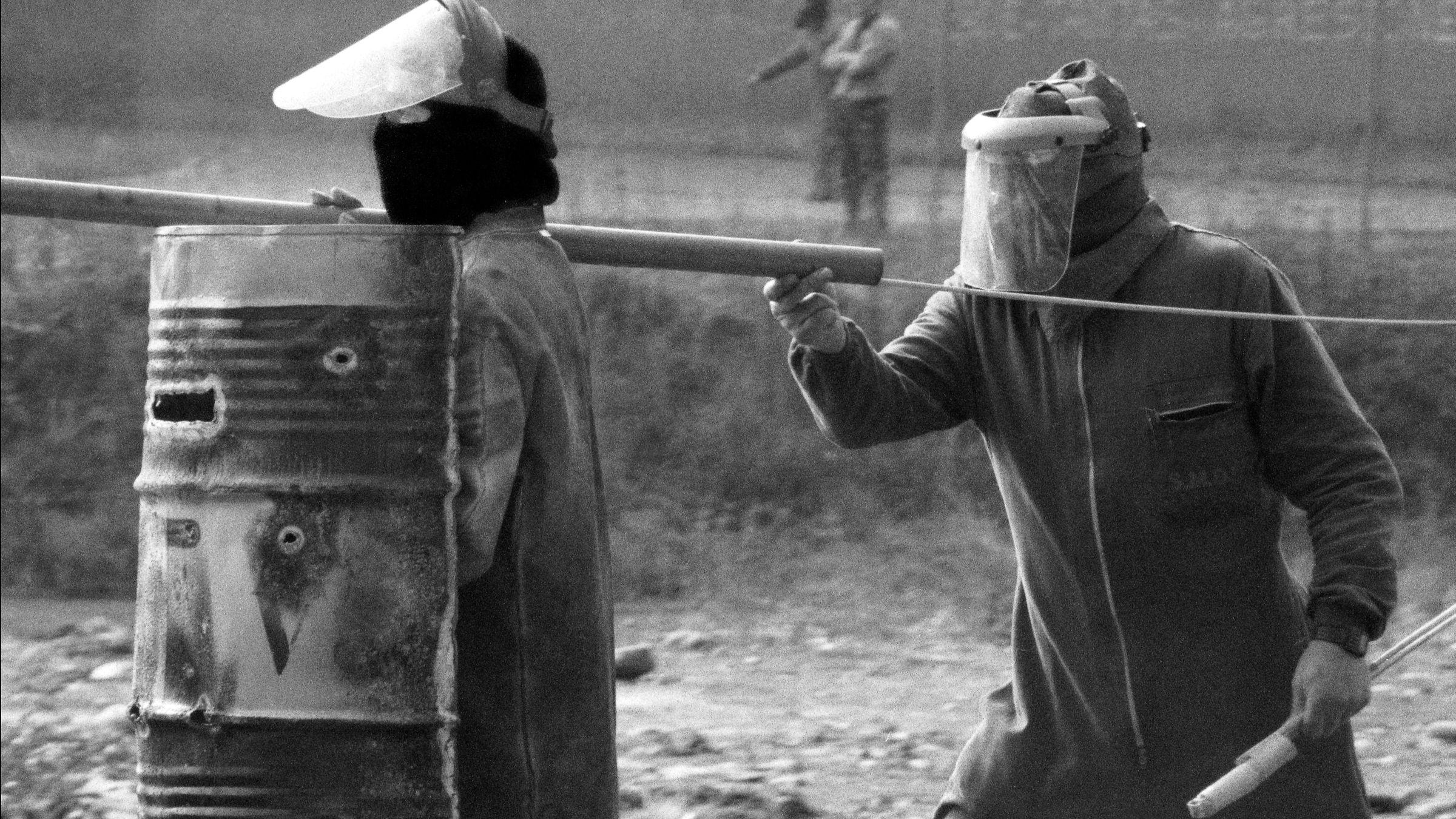 Movilizaciones de los 232 trabajadores despedidos de la empresa Duro Felguera. Langreo. Asturias 1993