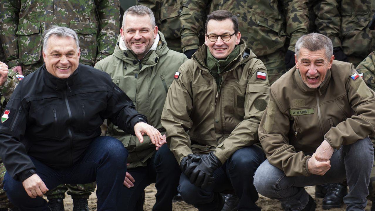 Viktor Orban, Peter Pellegrini, Mateusz Morawiecki y Andrej Babis, primeros ministros de los países del Grupo de Visegrado.
