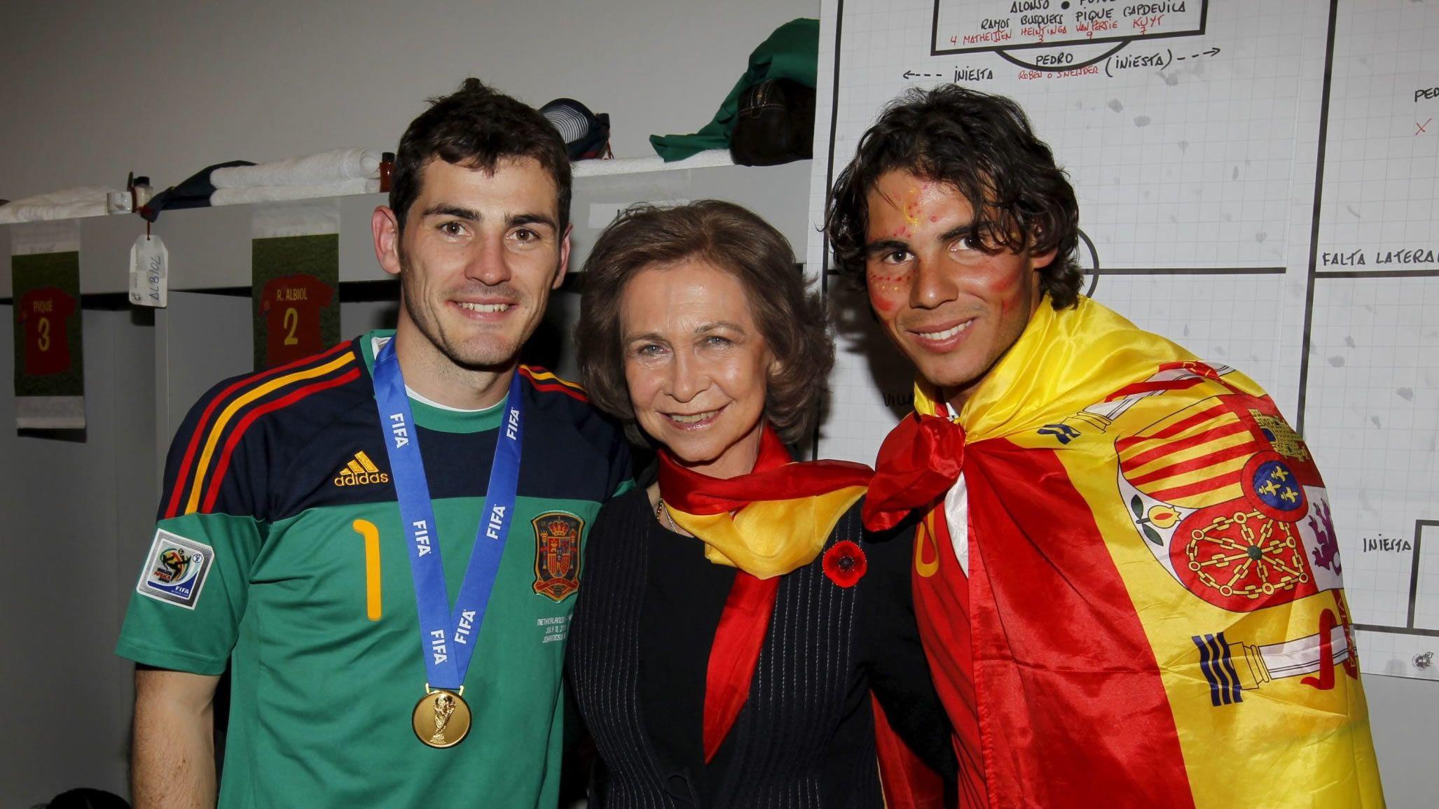 Con Iker Casillas y Rafa Nadal en la final del Mundial de Sudáfrica