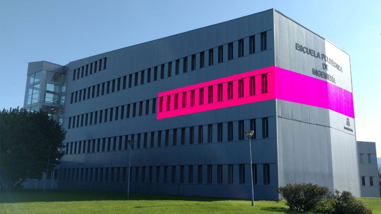 Los reyes visitan ARCO.Imagen del Edificio Polivalente del campus universitario de Gijón donde se muestra la ubicación de MediaLab Uniovi