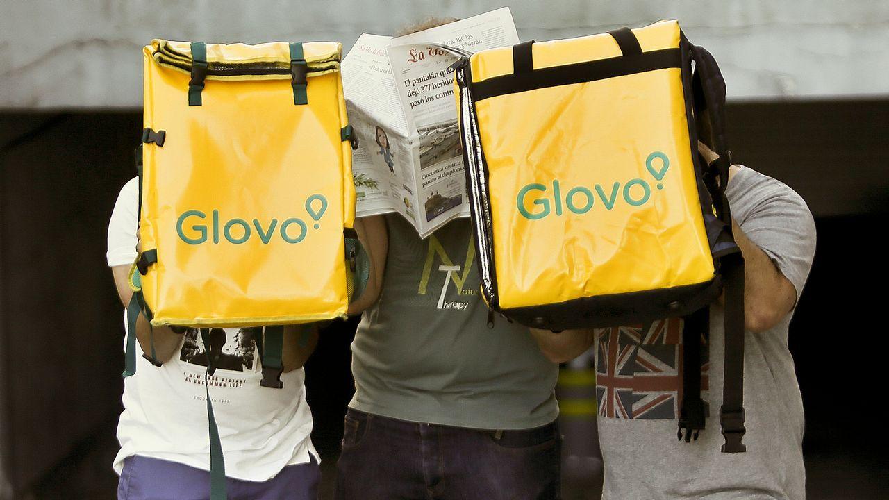 .Repartidores vigueses de Glovo, una de las empresas demandadas ante la Inspección de Trabajo