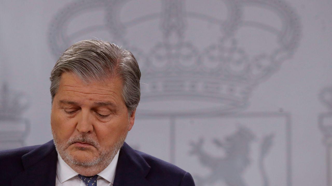 . Méndez de Vigo, durante la rueda de prensa posterior a la reunión del Consejo de Ministros, hoy en La Moncloa