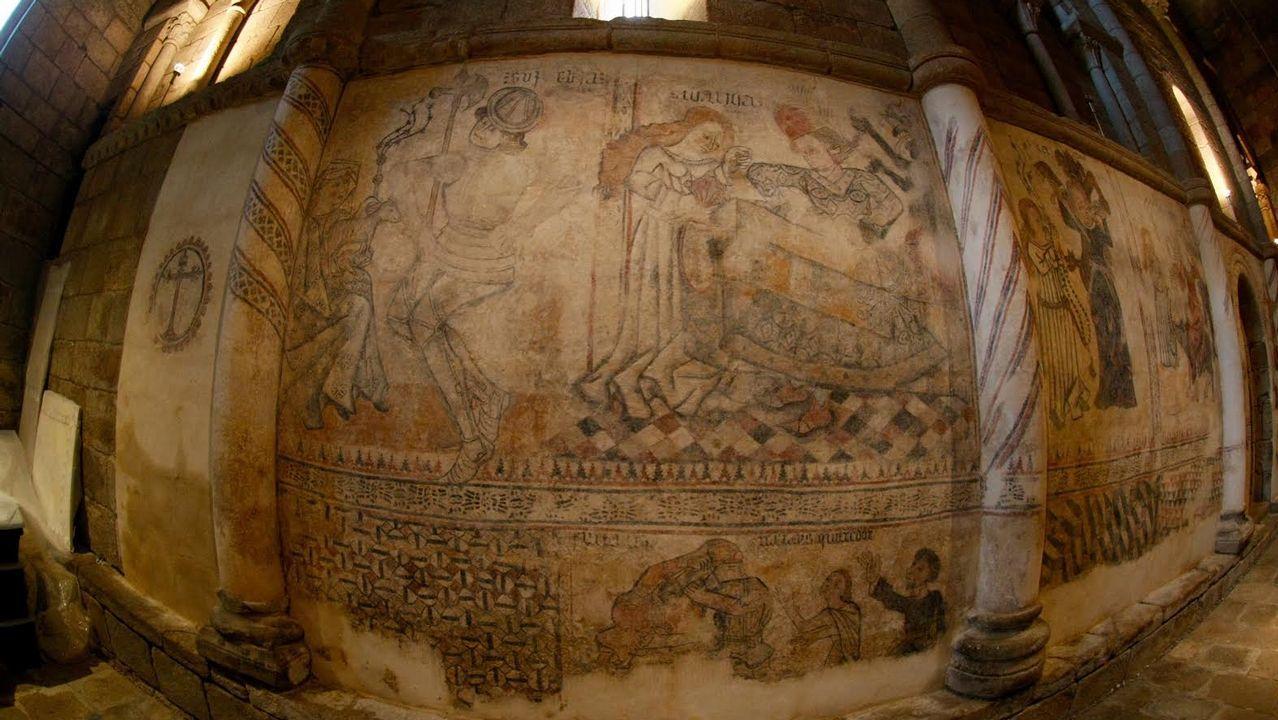Los frescos de Moraime recuperan el esplendor de hace siglos: imágenes.