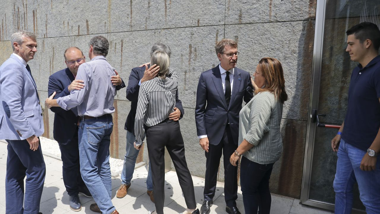 Rajoy, Ana Pastor, Feijoo, Pérez Touriño y Laxe, en un momento del funeral por Albor.