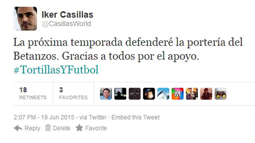La emocionante despedida de Casillas.Captura de pantalla de un tuit falso