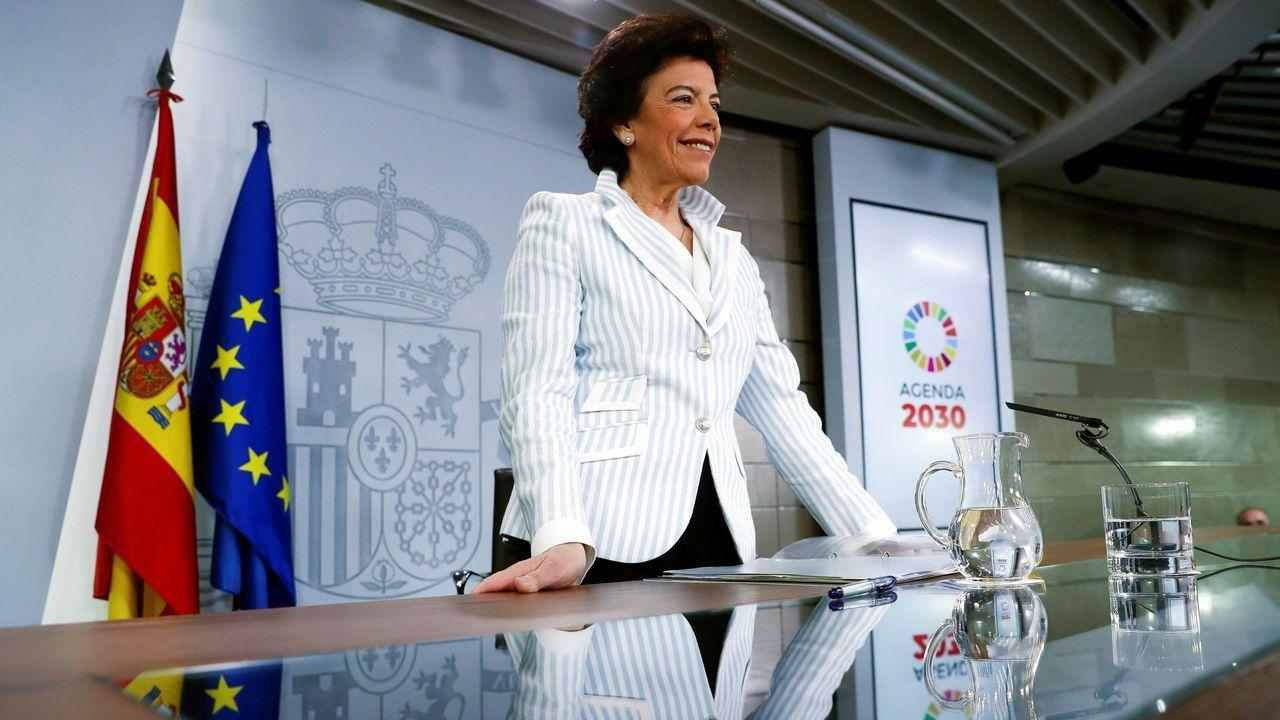 La ministra de Educación y portavoz del Gobierno, Isabel Celaá, durante la rueda de prensa posterior al primer Consejo de Ministros tras las elecciones generales, en el palacio de la Moncloa