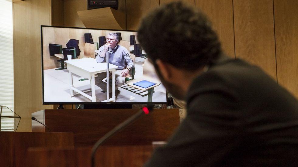 Francisco Granados, durante su declaración por videoconferencia desde la cárcel de Estremera