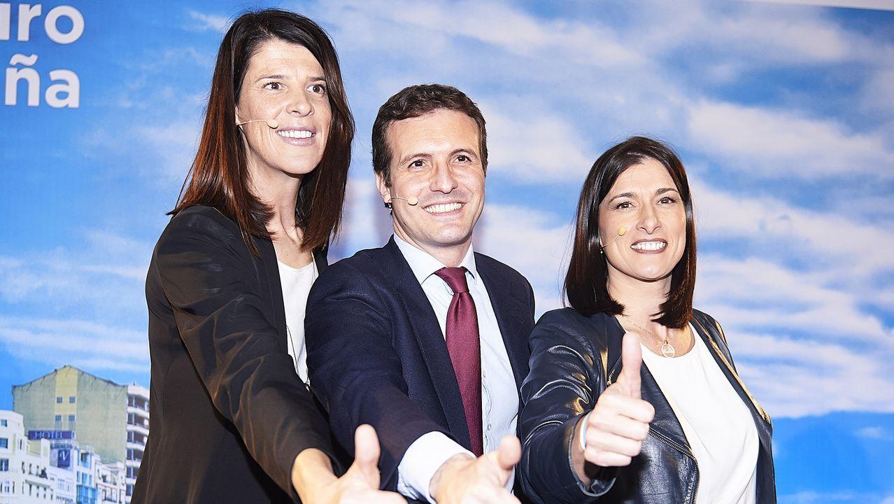 Pablo Casado durante la presentación de las candidatas a la Presidencia de Cantabria, Ruth Beitia (izquierda), y a la Alcaldía de Santander, Gema Igual