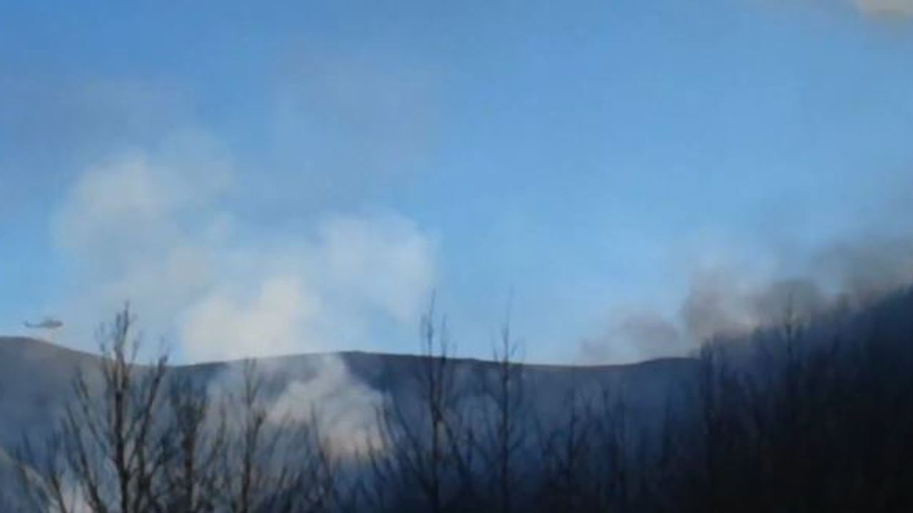 Espectaculares imágenes del incendio en Palacios del Sil.Traslado del cadáver del joven fallecido en su vivienda, en Bermeo (Vizcaya)