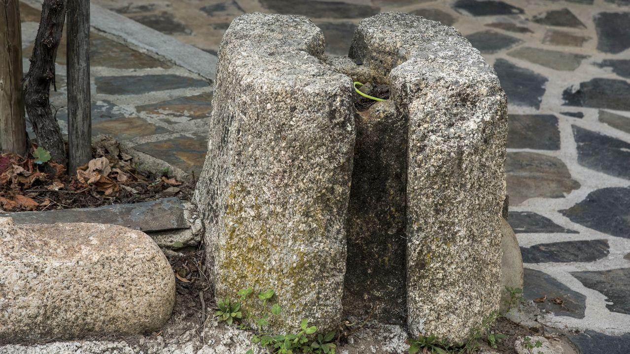 Contrapeso de piedra de una antigua prensa de aceitunas