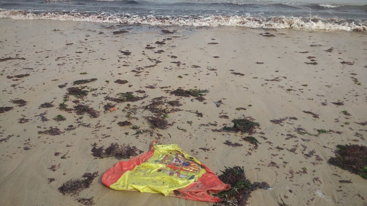 Personal de la BRIF de Tineo lucha contra las llamas en el incendio de Degaña y hace un cortafuegos.Bandera de España arrastrada por la marea, en la playa de San Lorenzo de Gijón
