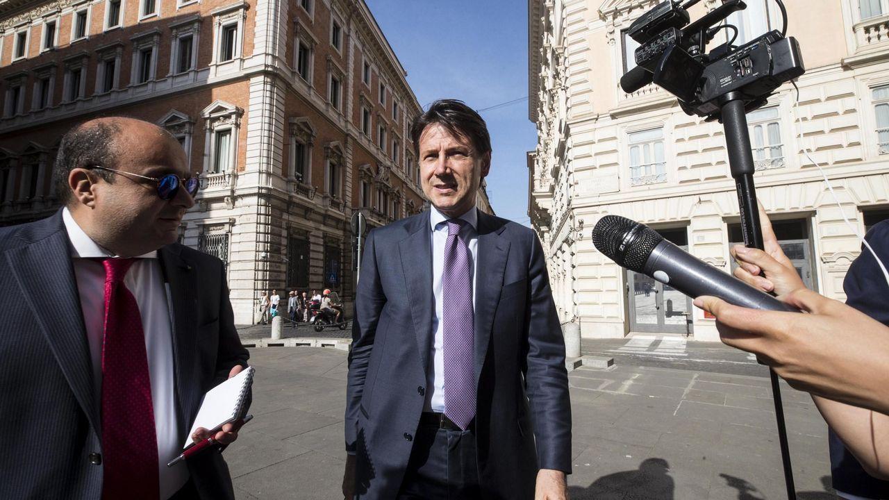 .El jurista Giuseppe Conte a su llegada este jueves al Congreso de los Diputados en Roma