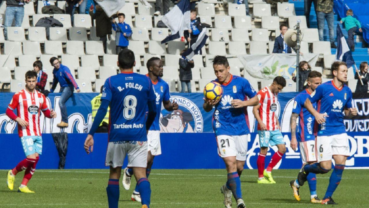 Saul Berjon Real Oviedo Tartiere Horizontal.Berjon celebra el 1-1