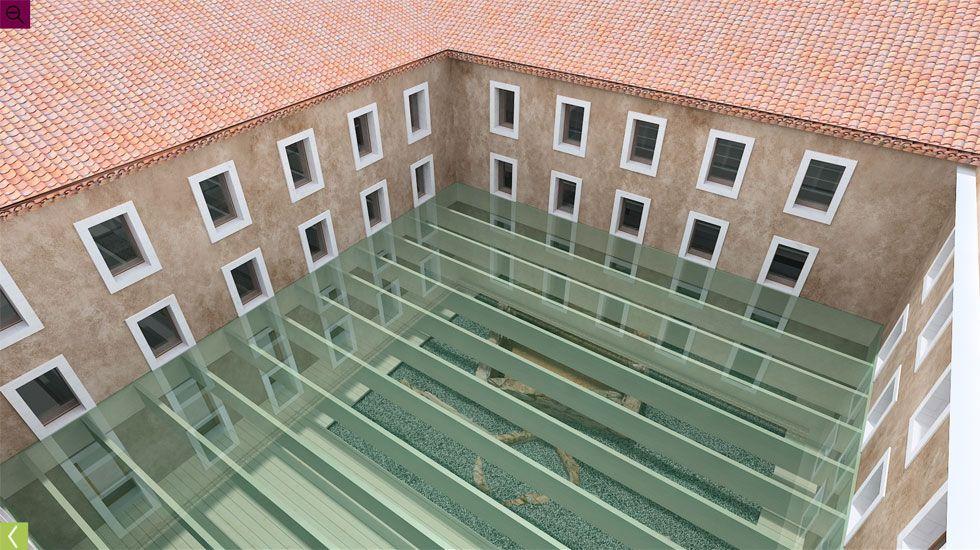 Simulación de la futura cubierta acristalada sobre el área de interpretación