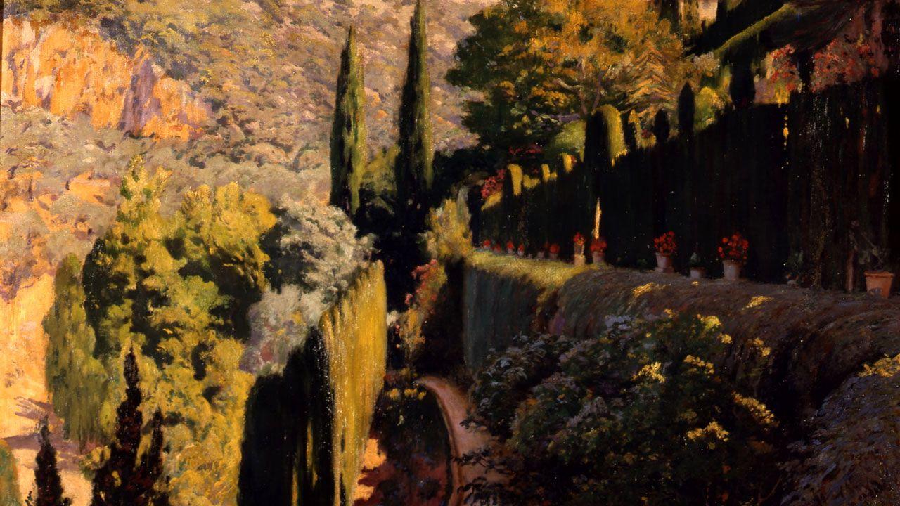 Santiago Rusiñol. Fragmento de «Muralla verde (De la serie de los jardines de Sa Coma, Valldemossa» (1904)