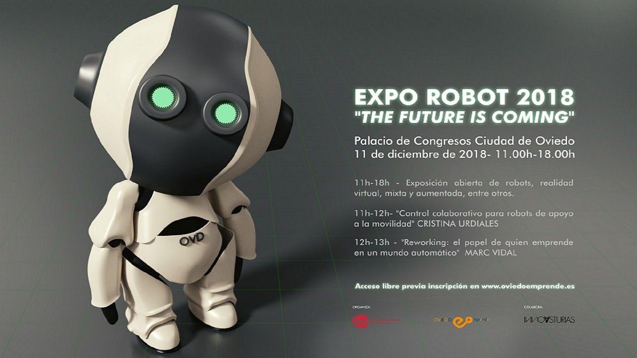 Segundo González (Podemos).Cartel sobre la exposición de robótica de Oviedo