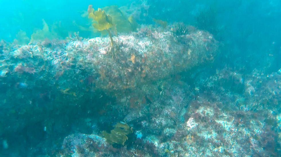 .Uno de los cañones encontrados en Punta do Segaño
