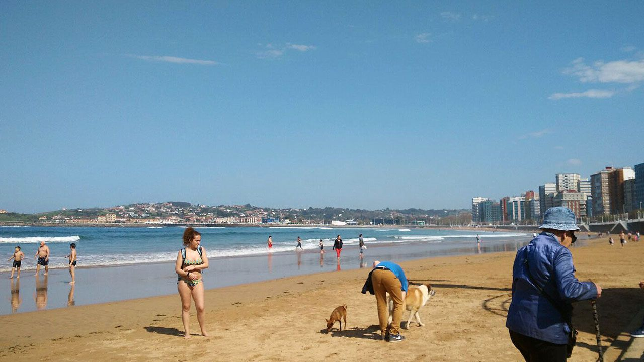 La playa de San Lorenzo, en Gijón, con los bañistas disfrutando del Cantábrico en abril.La playa de San Lorenzo, en Gijón, con los bañistas disfrutando del Cantábrico en abril