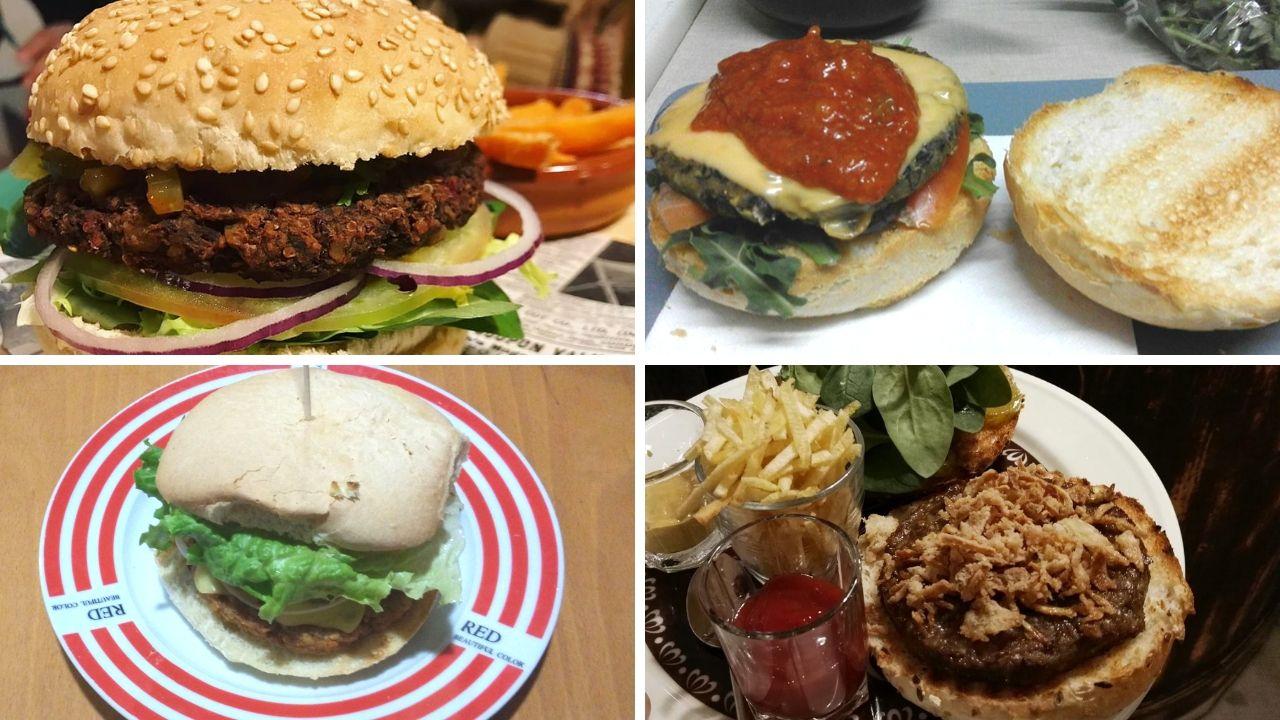 De arriba a abajo y de izquierda a derecha, hamburguesas veganas de Serendipia, La Teya, Puzzle y Green Zone Bio