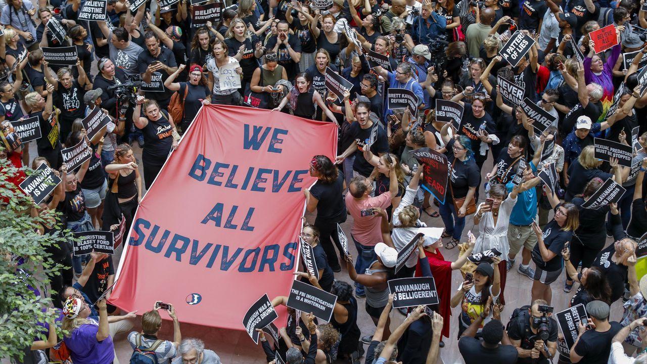 Manifestantes contra el juez Brett Kavanaugh, en Washington